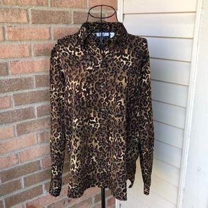 Susan Graver leopard button down